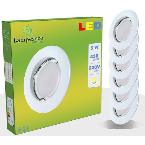 Lot de 6 Spot Led Encastrable Complete Blanc Lumière Blanc Chaud 5W eq.50W ref.267