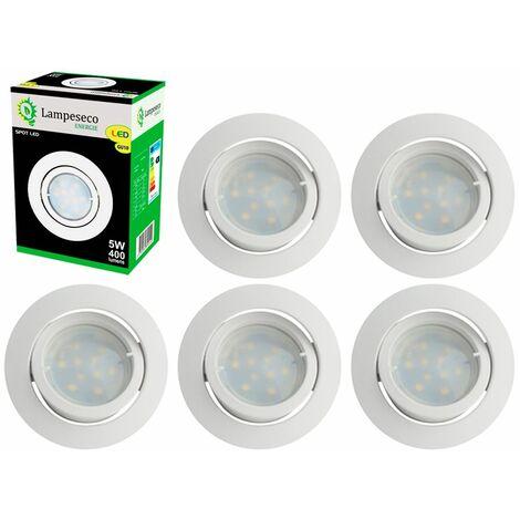 Lot de 6 Spot Led Encastrable Complete Blanc Orientable lumière Blanc Chaud eq. 50W ref.13