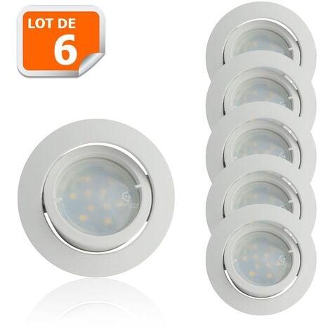Lot de 6 Spot Led Encastrable Complete Blanc Orientable lumière Blanc Neutre eq. 50W ref.888