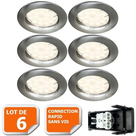 LOT DE 6 SPOT LED ENCASTRABLE COMPLETE RONDE FIXE ALU BROSSE eq. 50W BLANC NEUTRE