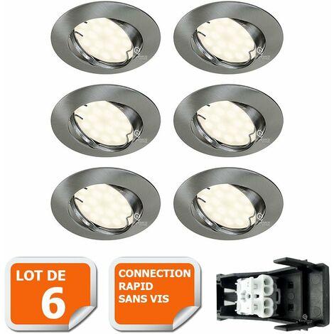 LOT DE 6 SPOT LED ENCASTRABLE ORIENTABLE ALU BROSSE AVEC AMPOULE GU10 230V eq. 50W, BLANC CHAUD