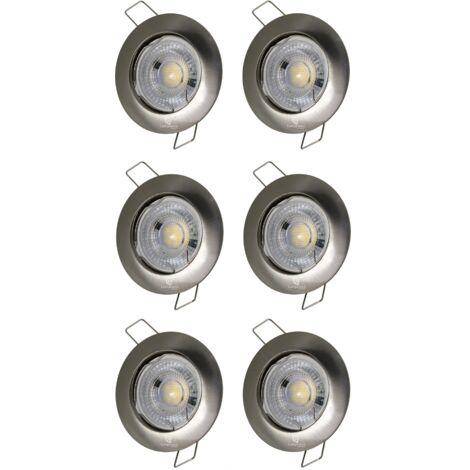LOT DE 6 SPOT LED FIXE COMPLETE ALU BROSSE 38°