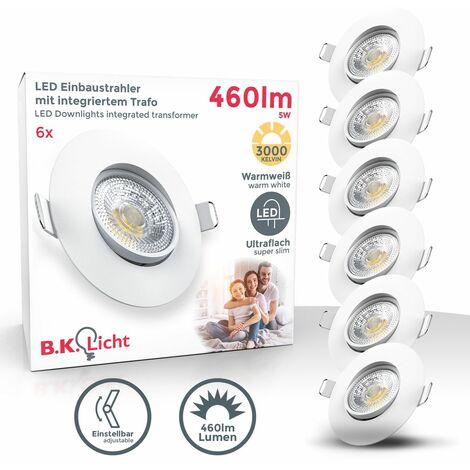 Lot de 6 spots à encastrer LED spots orientables ultra plats blancs éclairage plafond
