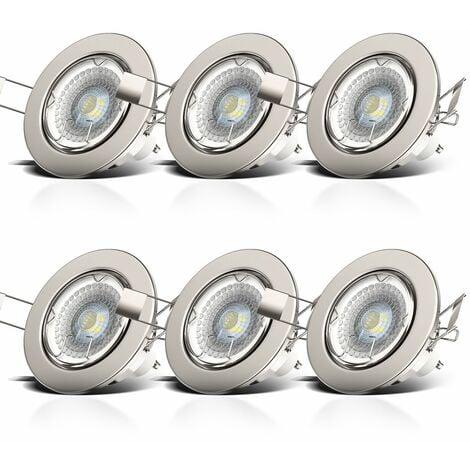 Lot de 6 spots LED à encastrer dimmables orientables spots plafond à encastrer