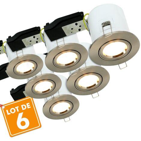 Lot de 6 Spots orientable acier brossé BBC RT2012 + Ampoules GU10