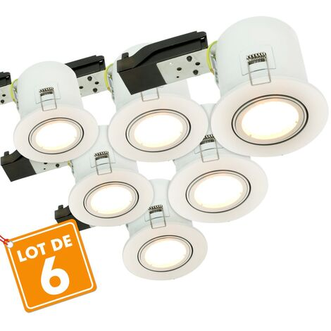 Lot de 6 Spots orientables blanc BBC RT2012 Avec spot LED GU10