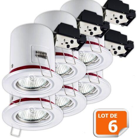 Lot de 6 Support de spot BBC Orientable Blanc diametre 90mm avec douille GU10