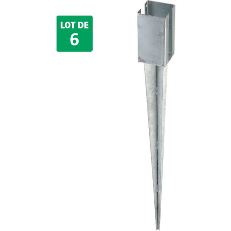 lot de 6 supports à planter pour panneaux en acier galvanisé 7x7x70 cm - Forest-Style