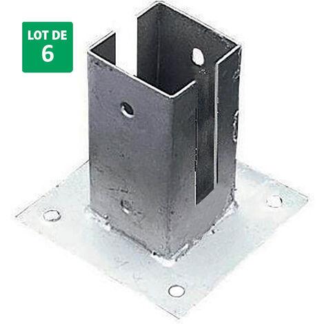 Lot de 6 supports pour sol en acier galvanisé pour panneaux en bois 7x7x15 cm - Forest-Style