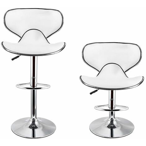 LOT DE 6 -TABOURET DE BAR - CHAISE DE BAR - HAUTEUR REGLABLE - BLANC