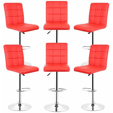 LOT DE 6 TABOURET DE BAR - CHAISE DE BAR - PU - ROUGE
