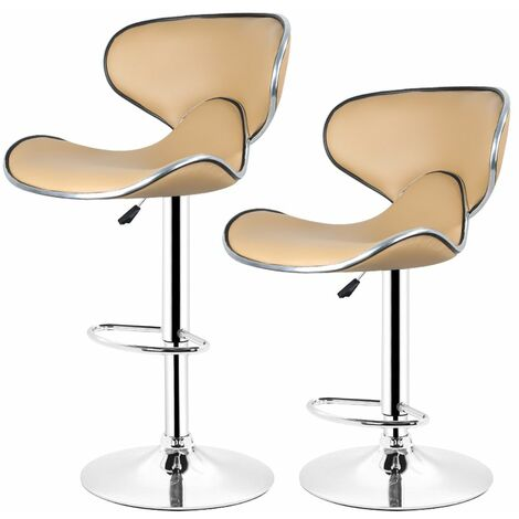Lot de 6 Tabouret de bar, chaise reglable et pivotant a 360- simili taupe