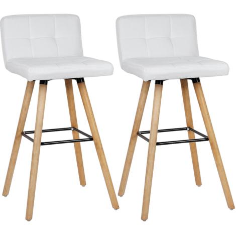 Lot de 6 Tabouret de bar haute - Pieds en bois h那tre + Rev那tement en tissu blanc - chaise de bar