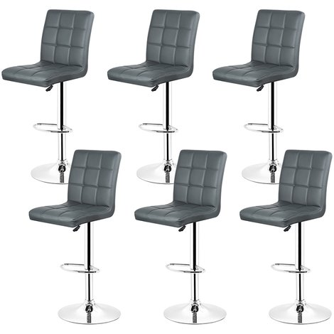 Lot de 6 tabourets de bar Chaise de bar sans accoudoirs Gris