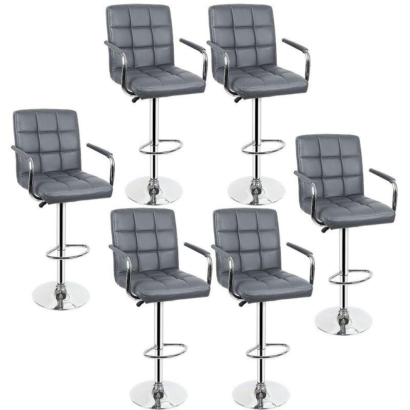 Lot de 6 Tabourets de bar haut chaise de bar PU chrome hauteur réglable grande base Φ38cm gris