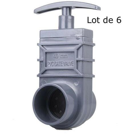 Lot de 6 vannes guillotines PVC 40 mm pour bassin de jardin et étang