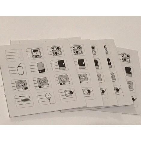 Lot de 60 étiquettes signalétiques de repérage des circuits electriques sur disjoncteur ou coffret avec porte étiquette AE12200