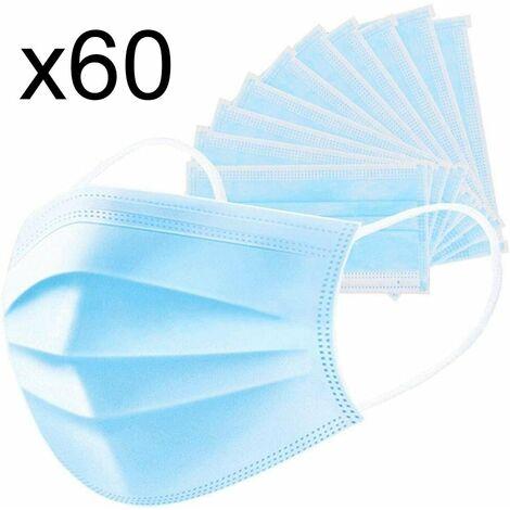 Lot de 60 masque chirurgical jetable protection respiratoire 3 couches pour le visage hypoallergénique et respirant Norme CE