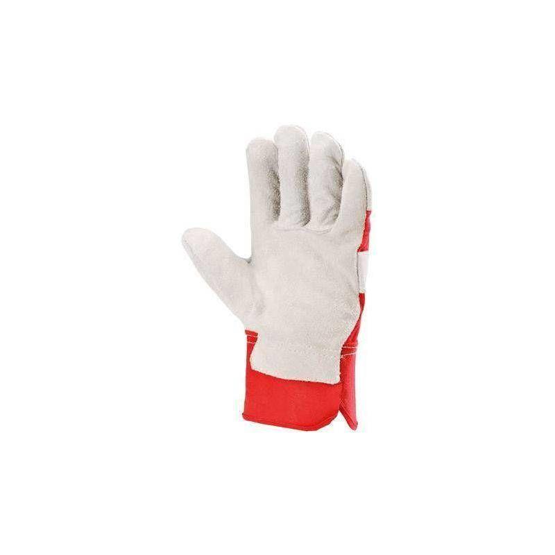 Coverguard - Lot de 60 paires de Gants docker croûte vachette, dos toile rouge 152F/H - T. 10