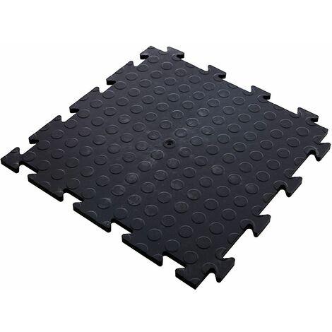 Lot de 60x dalle PVC pour garage à clipser | HxLxP 12 x 470 x 470 mm | Pastillée | Noir | Certeo - Noir