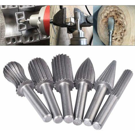 Lot de 6fraises rotatives en tungstène double coupe 6 mm Queue en tungstène Embouts de limage/gravure/meulage pour outils rotatifs