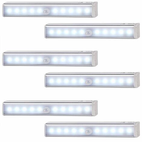 Lot de 6x Lampe pour armoire 10LED avec détecteur de mouvements, Marche/Arrêt automatique, Installation facile, Sans fil - Placard, dressing, penderie, cuisine