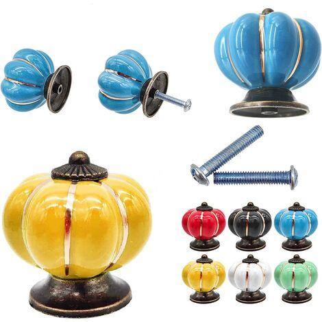 """main image of """"Lot de 7 Boutons de tiroir en céramique bouton de meuble forme citrouille pour tiroirs et placards de cuisine - mélange de couleurs"""""""