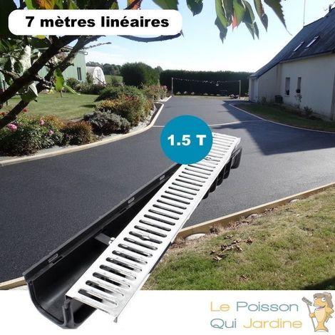 Lot de 7 : Caniveau 1 mètre 1,5 Tonnes pour drainage d'eaux usées.