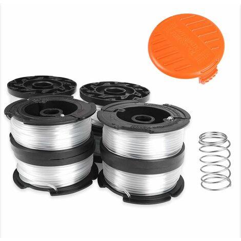 Lot de 8 bobines de fil pour tondeuse Black & Decker Bobines en nylon 9 m Ø 1,6 mm avec couvercle de bobine et ressort pour tondeuse Black+Decker
