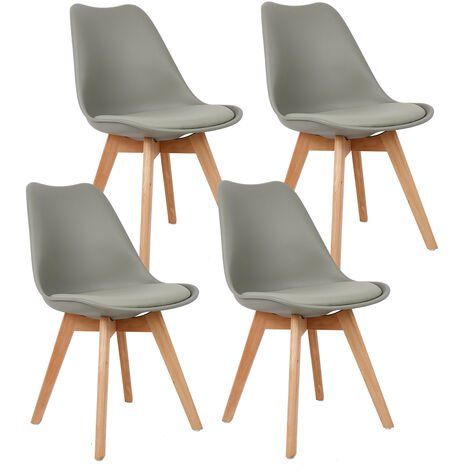 Lot de 8 Chaise avec coussin Design scandinave - gris clair - Gris clair