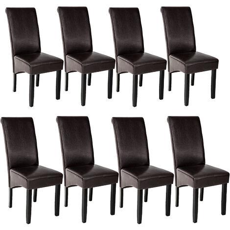 Lot de 8 chaises aspect cuir - lot de 6 chaises salle a manger, chaises de cuisine, chaises de salon