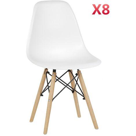 Lot de 8 Chaises au Design Moderne de Style Scandinave(Noir) - (Noir)