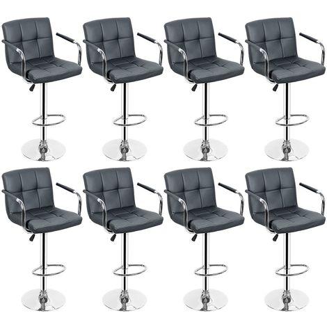 Lot de 8 Chaises de Bar avec Accoudoirs Pivotantes et Réglables en Hauteur 55cm - 75 cm Gris