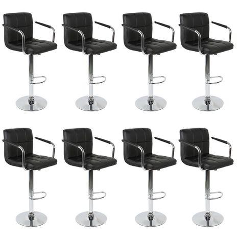 Lot de 8 Chaises de Bar avec Accoudoirs Pivotantes et Réglables en Hauteur 86.5 cm - 107.5cm Noir
