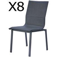 Lot de 8 chaises de jardin empilables en aluminium avec toile en polyester, anthracite -PEGANE-