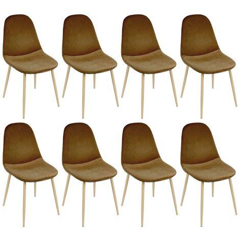 Lot de 8 chaises de salle à manger - Pieds en bois Revêtu de velvet - Scandinave - L 44.5 x P 40 cm