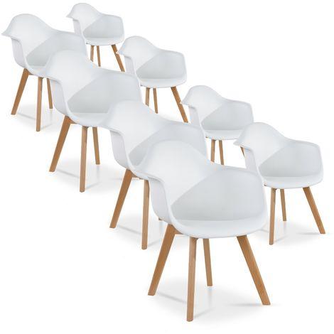 Lot de 8 chaises de style scandinave Lena Blanc