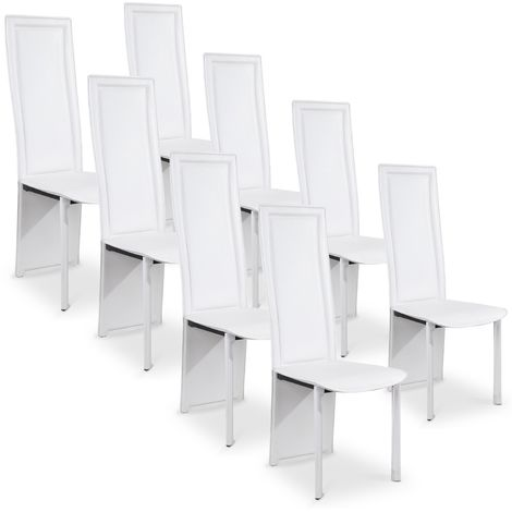 Lot de 8 chaises design Maestro Blanc