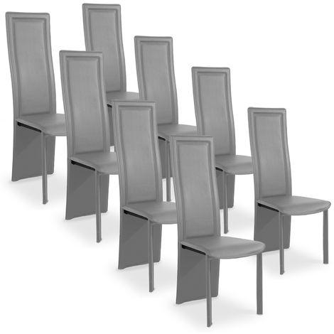 Lot de 8 chaises design Maestro Gris