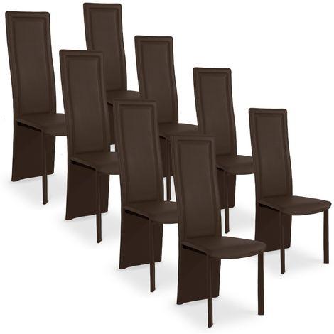 Lot de 8 chaises design Maestro Marron