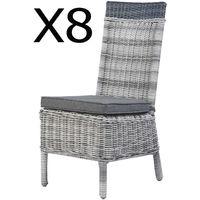 Lot de 8 chaises en alumium et résine tressé, avec coussins -PEGANE-