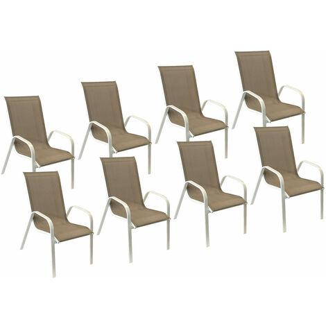 Lot de 8 chaises MARBELLA en textilène taupe - aluminium blanc
