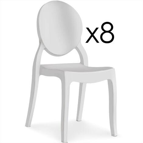 Lot de 8 chaises médaillon Diva Plexi Blanc