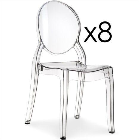 Lot de 8 chaises médaillon Diva Plexi Transparent