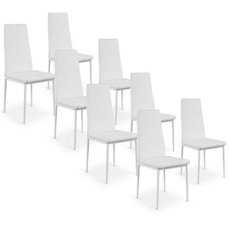 Lot de 8 chaises Paule Blanc