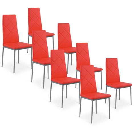 Lot de 8 chaises Paule Rouge