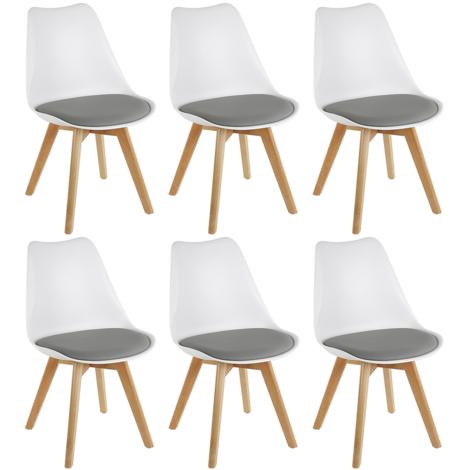 Lot de 8 chaises scandinave avec coussin super qualit Blanc/gris