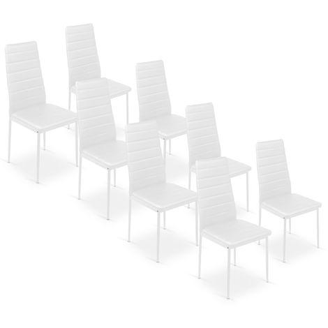 Lot de 8 chaises Strip Blanc