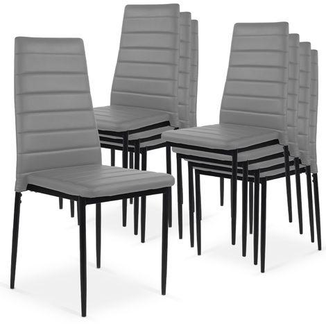 Lot de 8 chaises Strip empilables Gris