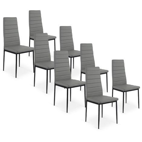 Lot de 8 chaises Strip Gris